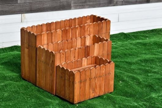 Кашпо деревянное прямоугольное набор из трех