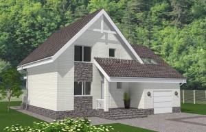 Проект разноуровневого дома с мансардой и гаражом Rg4931
