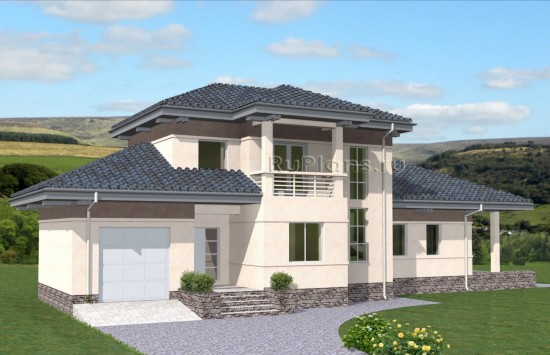Проект двухэтажного коттеджа с гаражом Rg4887