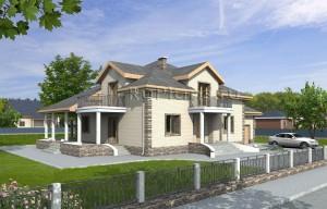 Проект двухэтажного дома с двускатной крышей Rg1583