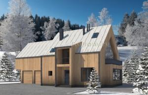 Проект одноэтажного жилого дома с мансардой в скандинавском стиле. Rg4996