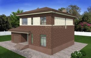 Проект двухэтажного дома с гаражом и балконом Rg4938