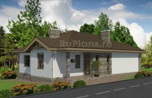 Проект одноэтажного дома на склоне Rg4857