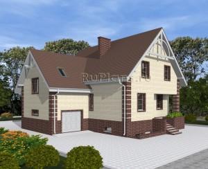 Проект одноэтажного дома с мансардой и цоколем Rg4869