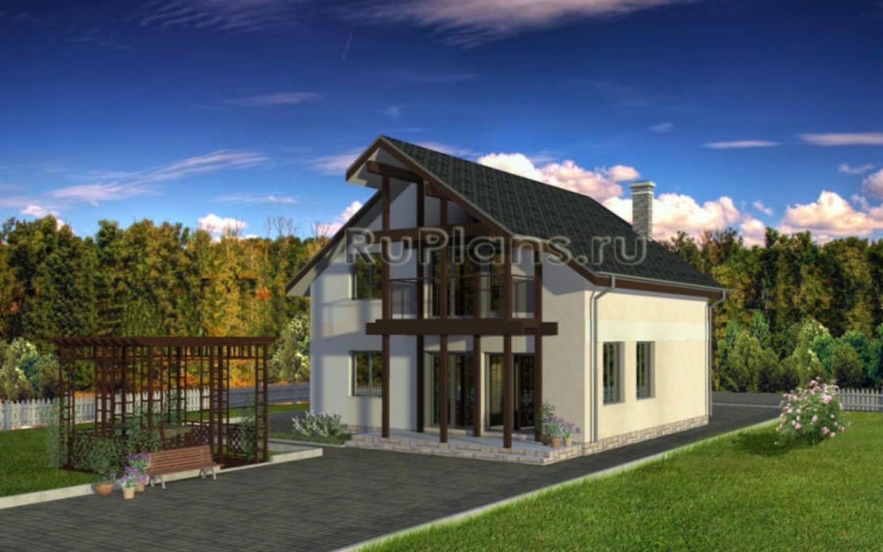 Дом с мансардой, гаражом, террасой и балконами vg1081.