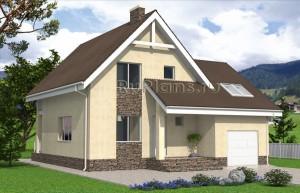 Проект одноэтажного дома с мансардой и гаражом Rg4827