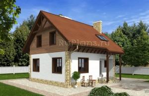Проект одноэтажного дома с мансардой Rg4803
