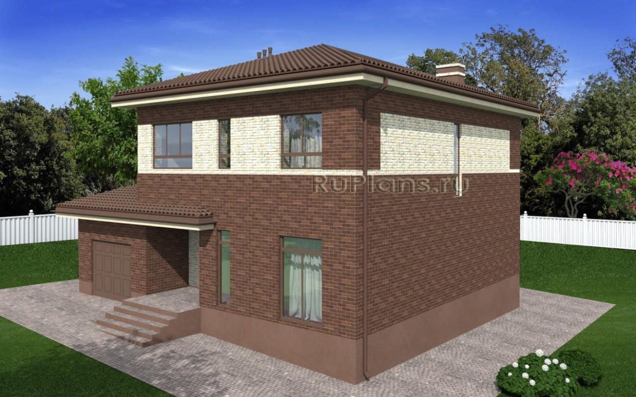 Проект двухэтажного дома с гаражом и балконом vg2304.
