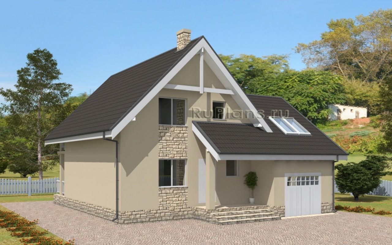 Дом с мансардой, гаражом, террасой и балконом vg2419.