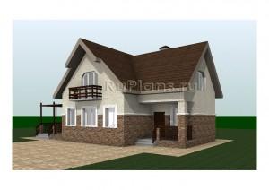 Дом с мансардой и верандой-столовой Rg3240