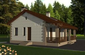 Проект небольшого одноэтажного дома с террасой Rg4826