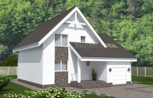 Проект просторного одноэтажного дома с мансардой. Rg5018