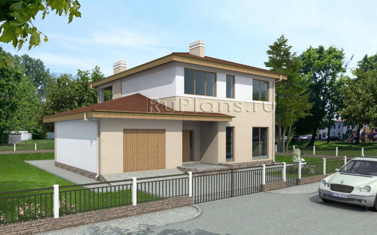 Двухэтажный дом с балконом и гаражом rg3865.