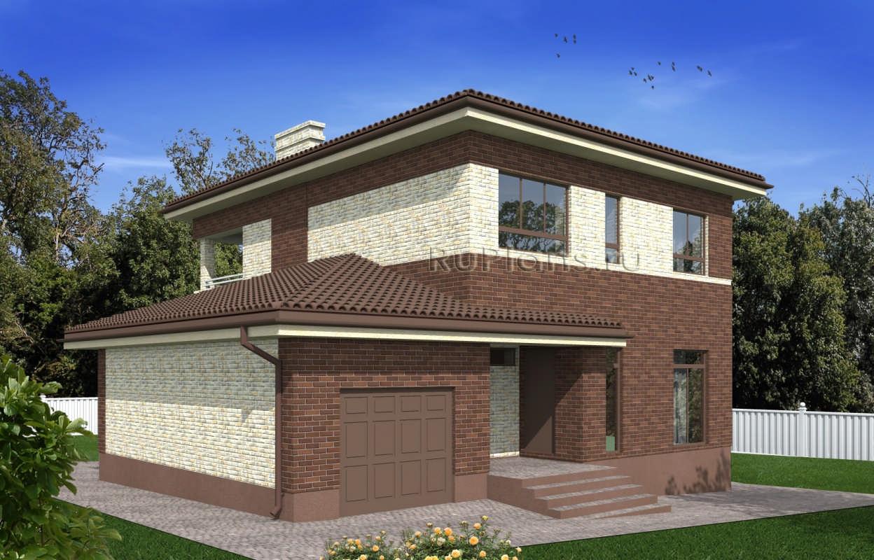 Проект двухэтажного дома с гаражом и балконом rg4938.