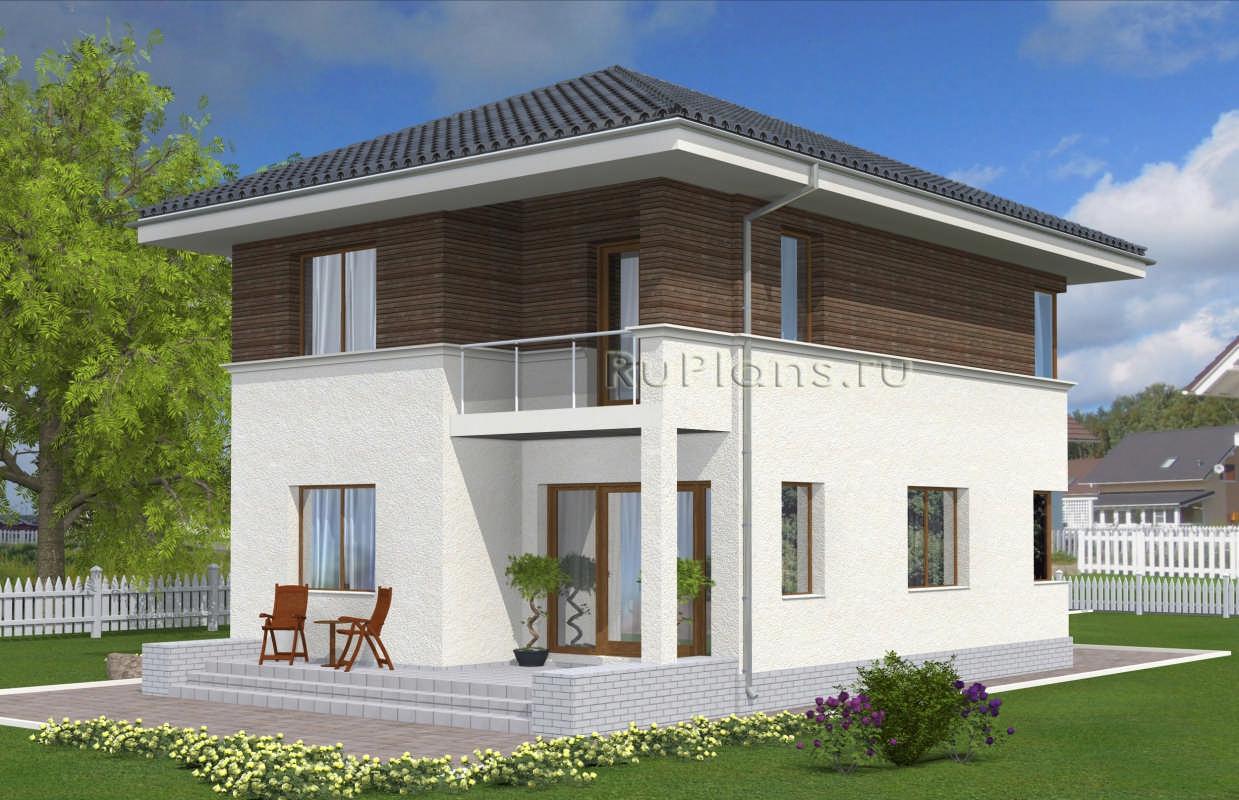 Проект двухэтажного дома с угловыми окнами vg2339.