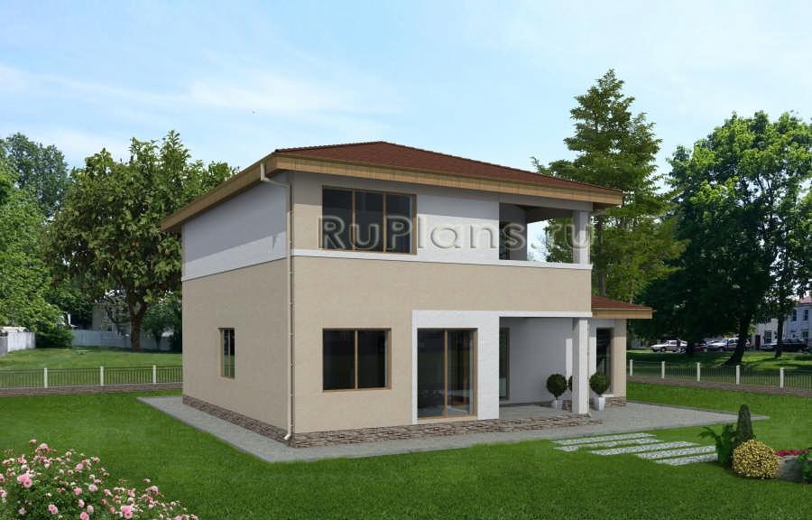 Двухэтажный дом с балконом и гаражом rg3865 - аск-строй.