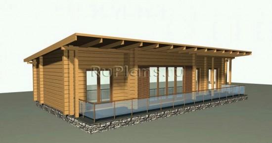 Проект деревянного бунгало с сауной Rg1569