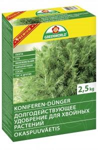 Greenworld Долгодействующее удобрение для хвойных растений NPK10-8-16 с магнием, 2,5 кг