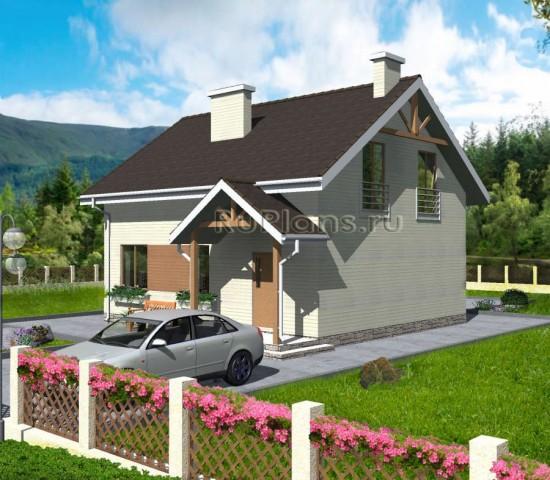 Проект уютного одноэтажного дома с мансардой Rg3318