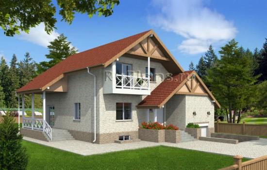 Проект одноэтажного дома с подвалом и мансардой Rg4781