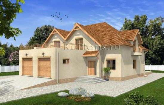 Проект таунхауса с гаражом и мансардой Rg4802