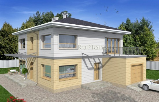 Проект двухэтажного дома с гаражом и витражами Rg4940