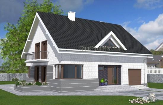 Проект одноэтажного дома с мансардой и гаражом Rg4883