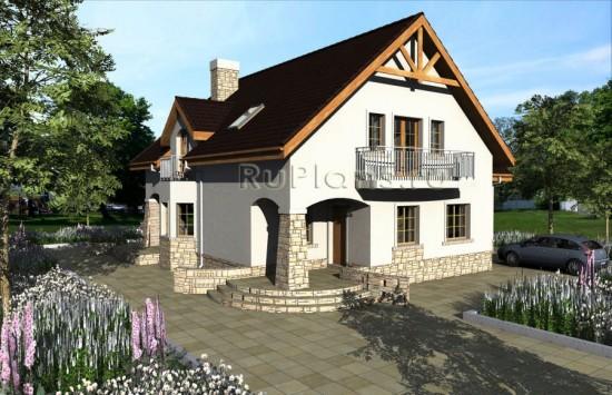 Проект одноэтажного дома с мансардой и гаражом Rg3937
