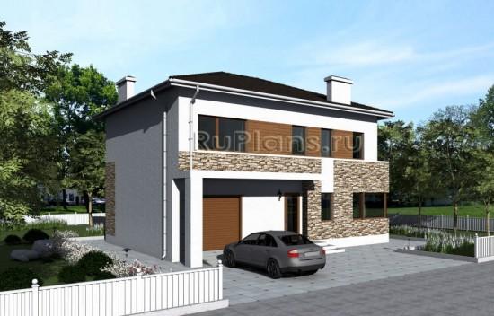 Проект двухэтажного жилого дома с гаражом Rg1589