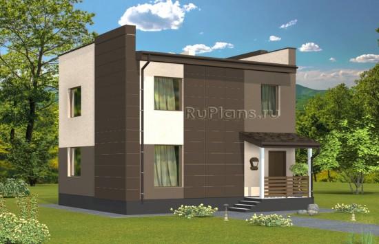 Проект двухэтажного дома с подвалом в современном стиле Rg4912