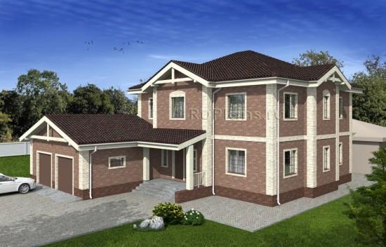Проект дома с гаражом на два авто Rg4976