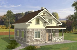 Проект небольшого уютного одноэтажного дома с мансардой Rg5025