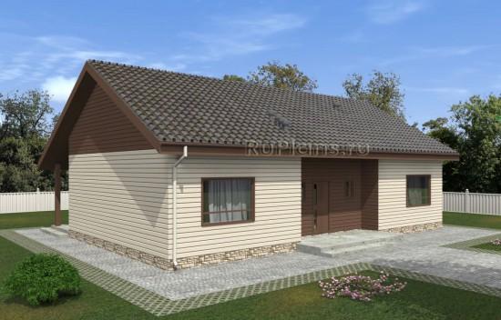 Проект комфортного одноэтажного дома с крытой террасой Rg5042