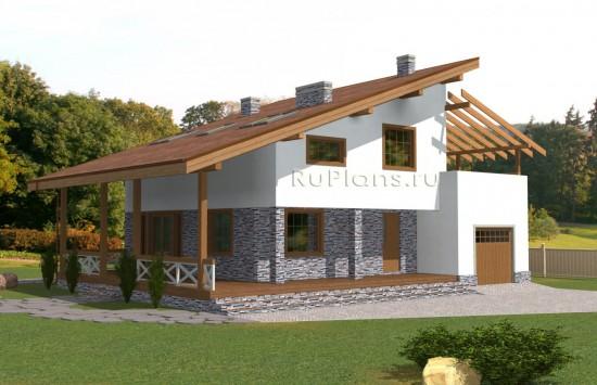 Проект одноэтажного дома с мансардой, подвалом и двумя просторными террасами Rg5058