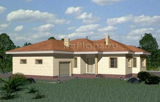 Проект одноэтажного дома с гаражом Rg3323