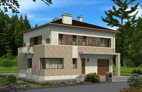 Проект двухэтажного дома с гаражом Rg3423