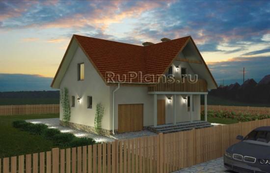 Проект удобного дома с мансардой и гаражом Rg1574