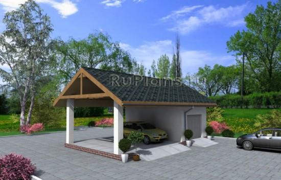 Проект гаража с навесом под авто Rg4023