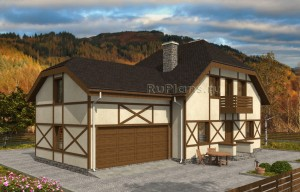 Проект индивидуального двухэтажного жилого дома в стиле фахверк Rg4998