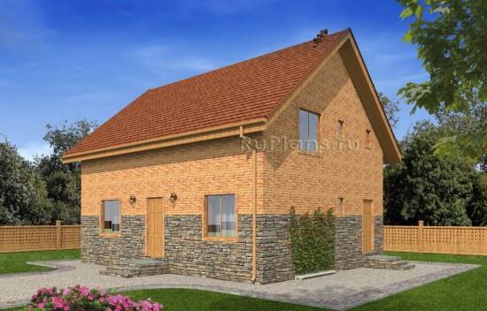 Загородный дом с мансардой и комбинированной отделкой фасада Rg4939