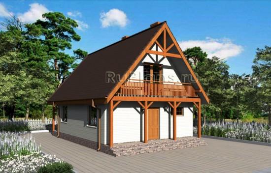 Проект небольшого одноэтажного дома с мансардой Rg3209