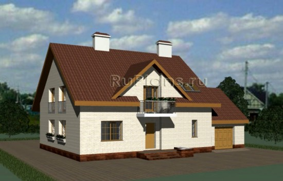 Проект компактного одноэтажного дома с мансардой и гаражом Rg3813