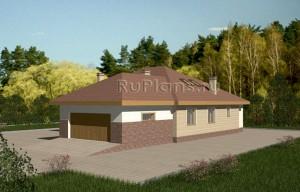 Проект дома с чердаком и гаражом на две машины Rg3419
