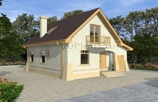 Проект одноэтажного дома с мансардой и гаражом Rg4833