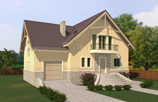 Проект просторного удобного одноэтажного дома с мансардой Rg5054