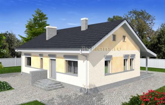 Проект одноэтажного дома с террасой и навесом Rg4963