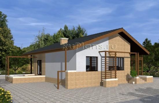 Проект одноэтажного дома с террасой Rg4809