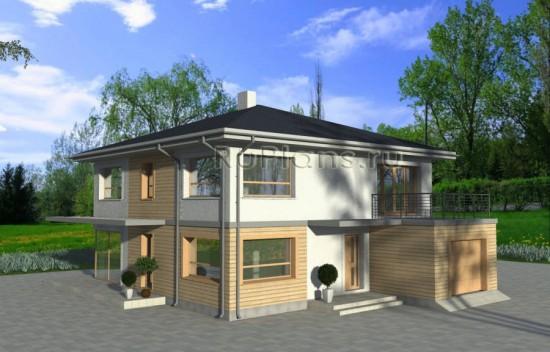 Проект двухэтажного дома с гаражом и террасой Rg3929