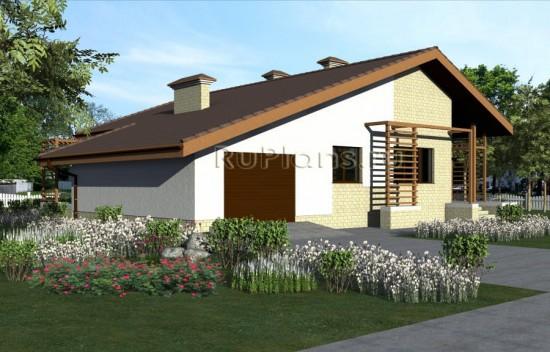 Проект небольшого одноэтажного дома из газоблоков Rg1564