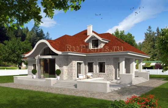 Проект одноэтажного дома с мансардой Rg4778